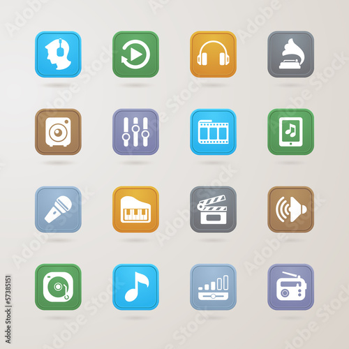 Music and media icons set
