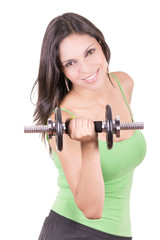 Playful hispanic woman exercising, lifting weights