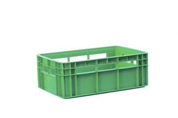 foldable green  plastic storage box on a white background
