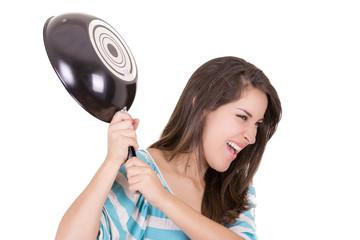 Angry hispanic woman with saucepan in one hand
