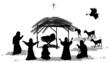 Black silhouette nativity scene and shepherds