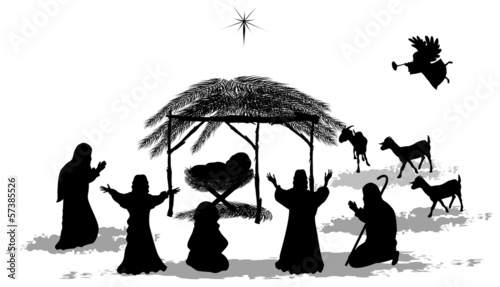 Black silhouette nativity scene and shepherds