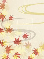 和紙に描かれた紅葉