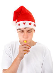 Teenager in Santa Hat