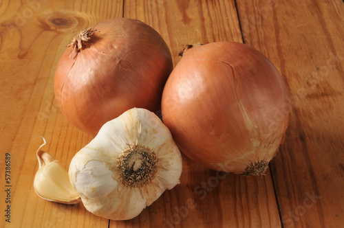 Fresh onions and garlic