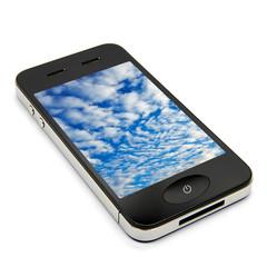 Smartphone isometrisch mit Wolken