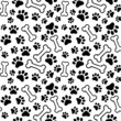 Seamless background - pet paw print and bone
