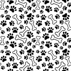 Seamless background - pet paw print and bone