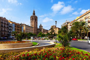 Plaza de la Reina and Micalet tower in Valencia, Spain