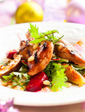 salad with quail