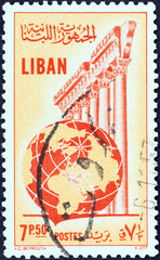 Temple of Jupiter, Baalbek and globe (Lebanon 1955)
