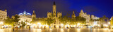 Panoramic view of City hall in evening. Valencia