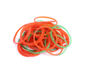Elastic bands isolated on white background