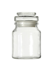 Glass jar (with clipping path) isolated on white background