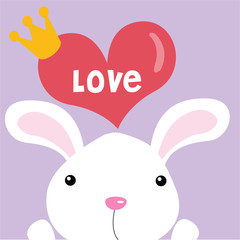 Bunny with love greeting card
