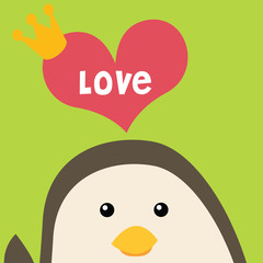 Penguin with love greeting card