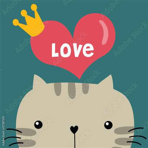 Cat with love greeting card