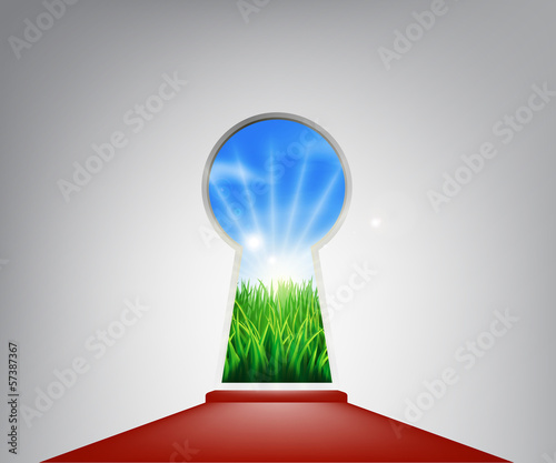 Red carpet idyllic landscape keyhole door