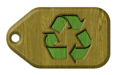 recycle symbol, wooden label, isolated on the white background.