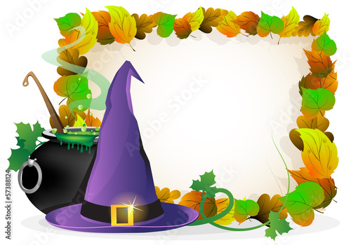 Witch hat and  cauldron on autumn leaves background