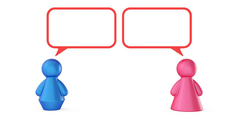 Abstract male and female figures with speech bubbles isolated on