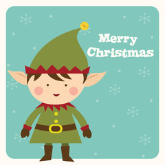 elf christmas greeting card