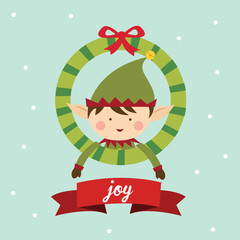 elf with christmas ornament greeting card