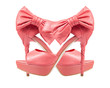 Evening pink shoes with a bow on a high heel. collage