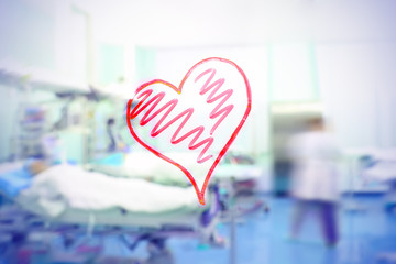 Love for the medical profession. Figure in the form of heart on