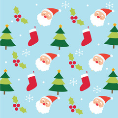 santa and christmas tree pattern