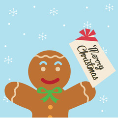 ginger man holding a christmas card