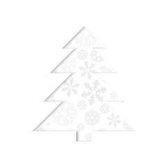 Stylized retro Christmas tree with snowflake.