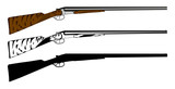 Vector illustration huntings rifle colored, black and white, sil poster