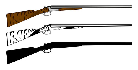 Vector illustration huntings rifle colored, black and white, sil
