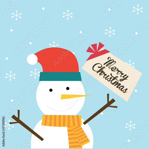 snowman holding christmas greeting card
