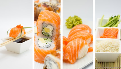 Salmon sushi roll and nigiri collage