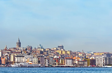 Beyoglu district historic architecture and Galata tower - mediev