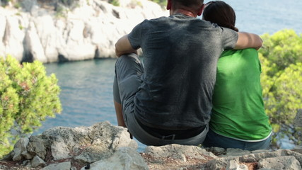 Couple relaxing in beautiful nature scenery