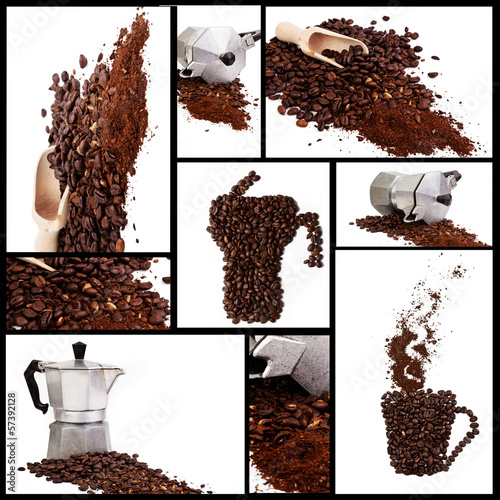 Collection of coffee on a white background
