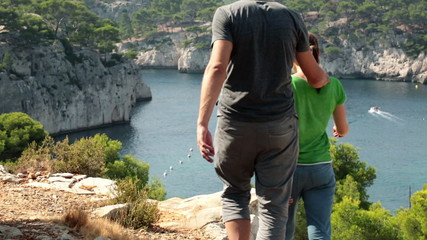 Couple on trip looking at beautiful view