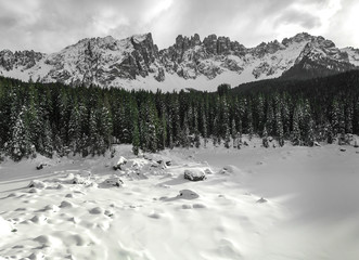Winter view of Latemar, Dolomiti