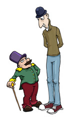tall and short man, cartoon characters