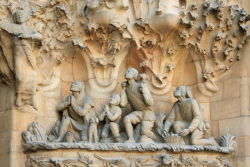 Sagrada Familia sculptures in Barcelona, Spain