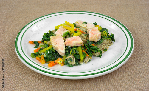 Salmon with vegetables TV dinner on a dish