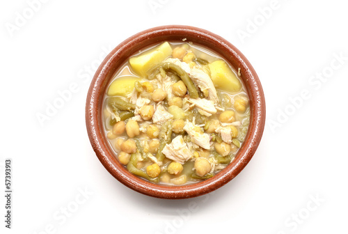 clay dish of stewed chickpeas with meat, beans and potatoes