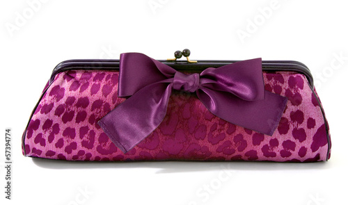 Pink leopard clutch with big purple ribbon