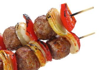 Skewers made of minced meat,paprika and onions