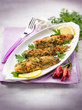 fish fillet with  hot chili pepper and parsley, selective focus