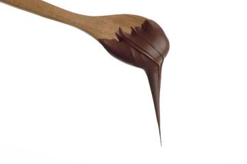 cucchiaio con crema di  cioccolato