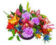 Floral bouquet of orchids, gladioluses and carnations isolated o